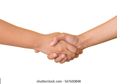 Close up on holding hands two friends shook hands in friendship on white background.