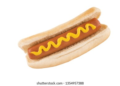 Close up on hot dog with mustard on top, isolated on white background. Cut out.
