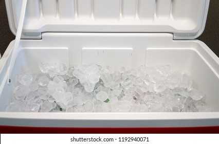 close up on ice inside cooler
