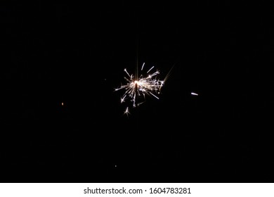 close up on ignited sparkler in the dark