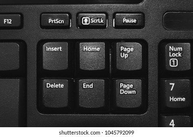 Close up on the Insert, Home, Page up, Delete, End, Page down buttons from a black pc keyboard.