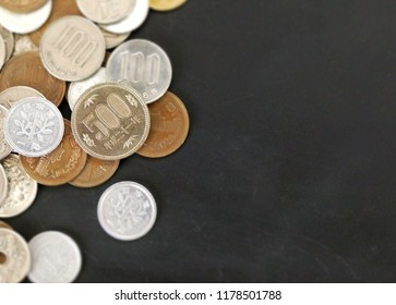 close up on Japanese Yen different type of coins on black background with copy space for own text.