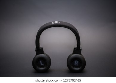 close up on JBL E45BT headphones resting on a black background. January 1st, 2019. Cairo-Egypt.