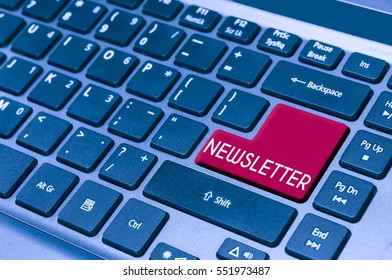 close up on a laptop keyboard with text NEWSLETTER