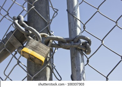 Close up on a lock gate and chain