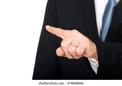 Close up on male finger pushing abstract button