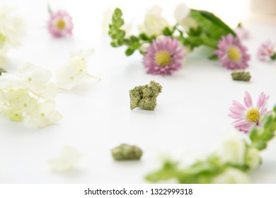 Close Up on Marijuana Nug with Pretty Floral Background Flower Buds - Cannabis