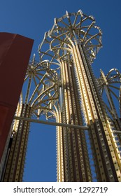 Close up on the Metal Umbrellas with Bulbs and Lights in Las Vegas