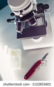 Close up on microscope in laboratory.