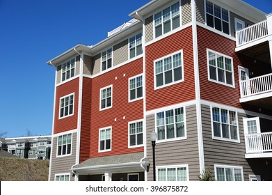 close up on modern apartment building
