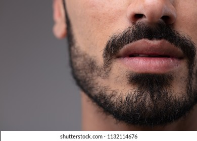 Close up on the mouth and chin of a bearded man in a cropped view of his face over a grey background