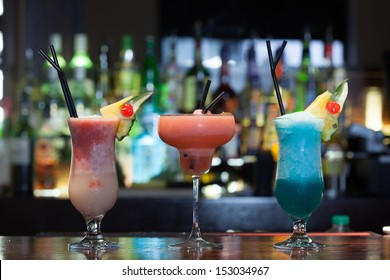 Close up on mouth watering cocktails in a classy bar