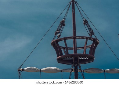 Close up on crow's nest on an historical themed pirate ship
