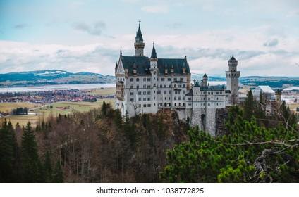 Close up on Neuschwanstein Castle in Germany.
