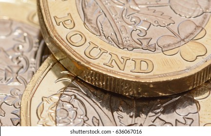 Close up on New One Pound Coins 2017 Design A, Shallow Depth of Field Macro Photography