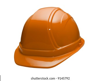 A close up on a orange hard hat isolated on a white background.