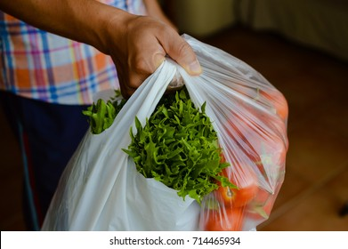 Close up on person holding a bag full of vegetables, abstract background. good healthy dietary lifestyle, natural shopping freshness