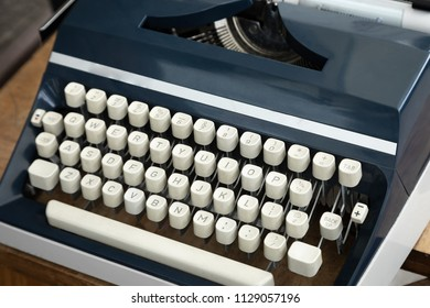 Close up on a qwerty mechanical keyboard of an old fashion typewriter