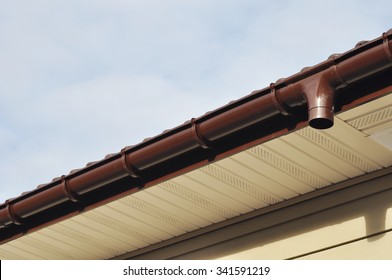 Close up on Rain Gutter Soffit Board, Fascia Board Installation