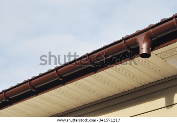 Close On Rain Gutter Soffit Board Stock Photo (Edit Now