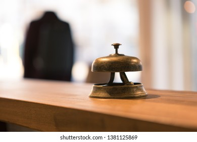 Close up on a reception vintage bell, background is blurred