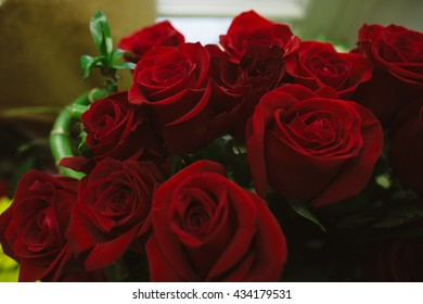 Close up on Red Roses Bouquet