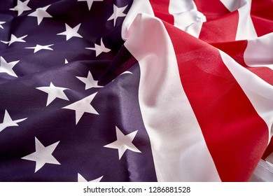 Close up on a rippled and unsmooted flag of America.