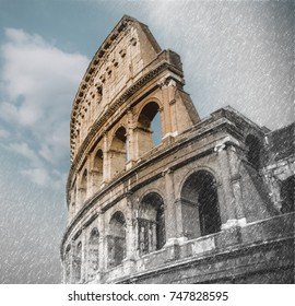 Close up on Roman colloseum in Rome, Italy, black and whiteClose up on Roman colloseum in Rome, Italy, sketch to photo effect, soft focus