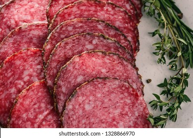 Close up on salami slices