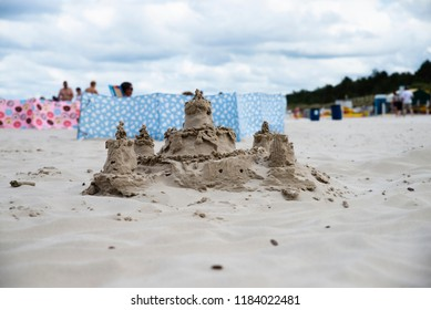 close up on sand castle on the beach,