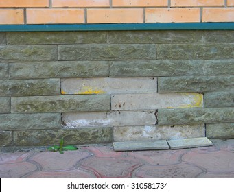 Close up on signs of house foundation problems.Foundation problems are usually the result of moisture and need to repair.