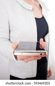 close up on smartphone in a woman's hands