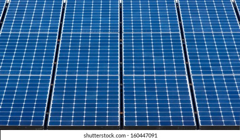 Close up on solar panels used to help create electricity.