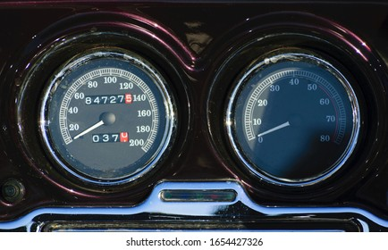 Close up on the speedometer of a vintage retro classic motorcycle