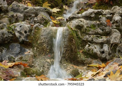 Close up on spring water in forest. Clear natural and pure water from fountain in woods.