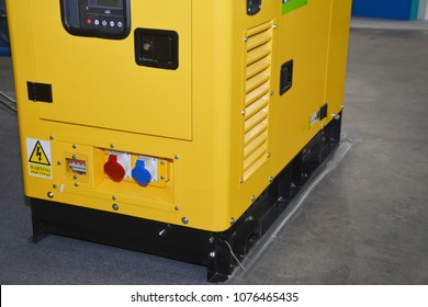 Close up on standby power diesel backup generator for home  with control panel