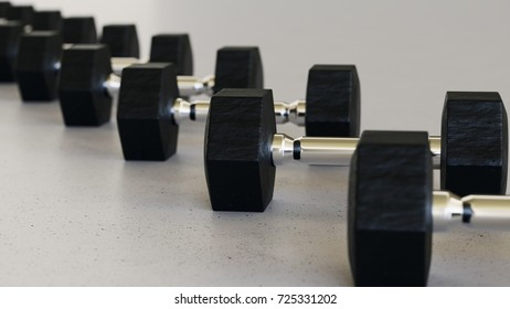 Close up on a tightly packed, perfectly aligned linear array of variously colored dumbells on a simple modernist neutral surface. This image is a 3d render.