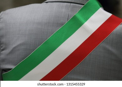 close up on the tricolor band of the Italian mayor