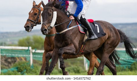 Close up on two horses and jockeys racing for position