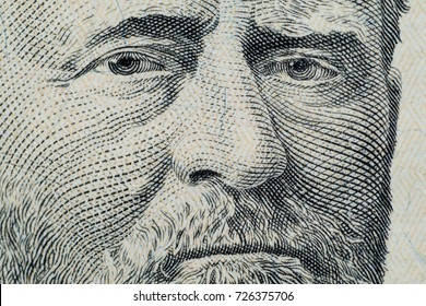 Close up on US dollar banknotes.  Portrait of Grant on US dollar Banknotes. Shooting by 1:1 Macro lense.