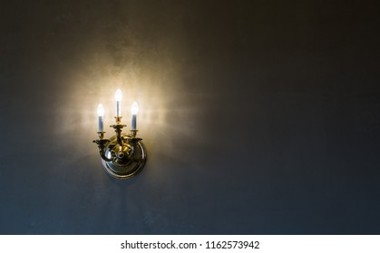 close up on vintage light on the wall