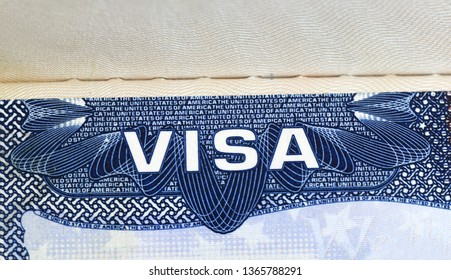 close up on Visa of the United States