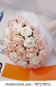 Close up on wedding pink and white bouquet flowers.  Bride bouquet.