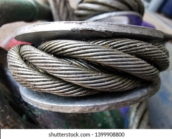 Close up on Wire rope sling surface. Lifting gear and equipment in heavy industrial. Selected macro focus on the object.