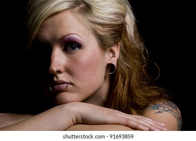 Close up on a Woman - Black Background