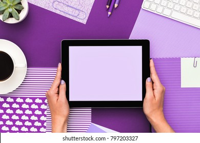 Close up on woman hands hold digital tablet