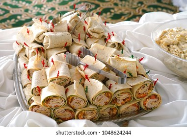 close up on wrap sandwich in the platter in banquet