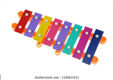 close up on xylophone isolated on white background