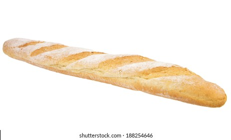 close up of one baguette bread isolated on the white background