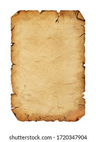 Close up one blank old antique vintage brown paper parchment scroll with copy space isolated on white background